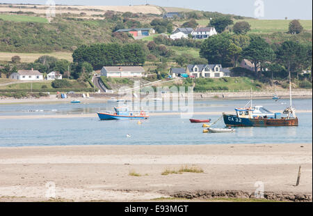 Poppit Sands with Cardigan in background across River Teifi,Cardigan Bay,Pembrokeshire,West Wales,Wales. - Stock Photo