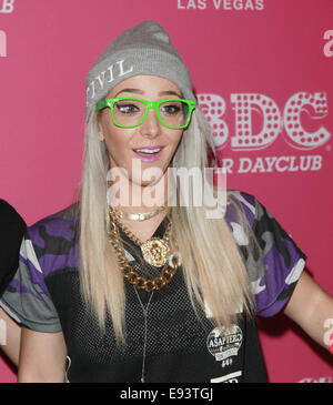 Las Vegas, Nevada, USA. 18th Oct, 2014. YouTube personality Jenna Marbles kicksoff the season opener of Ghostbar - Stock Photo