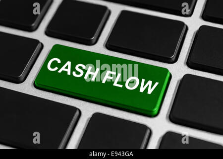 financial cash flow green button on keyboard, business concept - Stock Photo