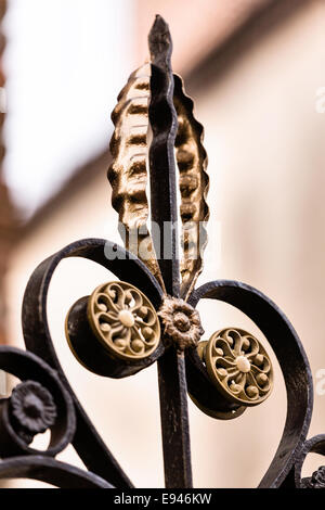 Decorative ironwork detail on a gate along Queen Street in historic Charleston, SC. - Stock Photo