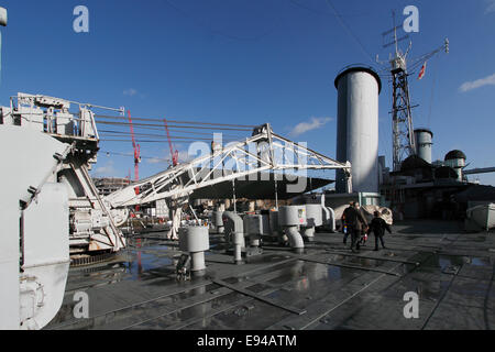 The crane used to raise and lower the Walrus spotting and rescue aircraft from and into the water HMS Belfast now - Stock Photo