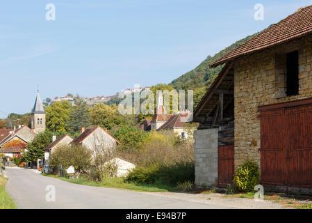 French village of Nevy-sur-Seille below Chateau Chalon near Lons-le-Saunier, Jura, Franche-Comte, France