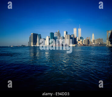 Lower Manhattan skyline and East river from Brooklyn prior to September 11 2001 New York City NY USA - Stock Photo