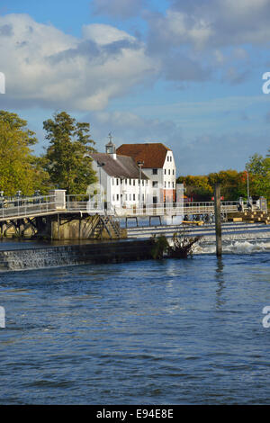 Looking across to the historic Hambleden Mill and weir on the River Thames, Mill End,  Hambledon, Buckinghamshire,England - Stock Photo