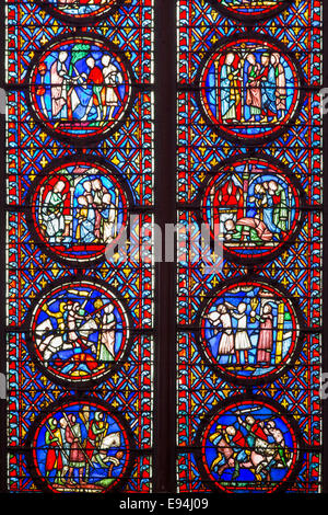 Section detail of stained glass windows in Sainte Chapelle, Paris, France - Stock Photo