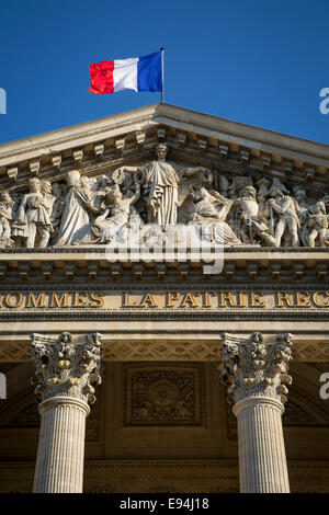 Detail on the front facade of the Pantheon, Paris, France - Stock Photo