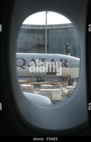 Doha, Qatar - 19 October 2014. Qatar Airways inaugurated the A380 on the Doha - London route on 10 October 2014. - Stock Photo
