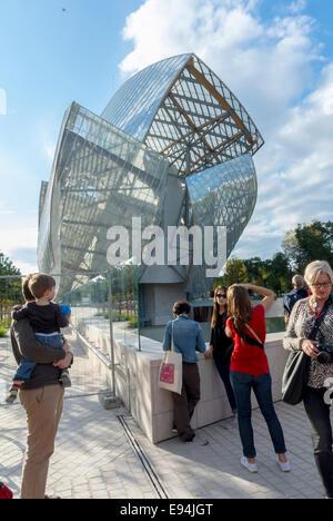 Paris, France. New Contemporary Arts Museum Building the 'Fondation Louis Vuitton', in Bois de Boulogne Park, Credit - Stock Photo