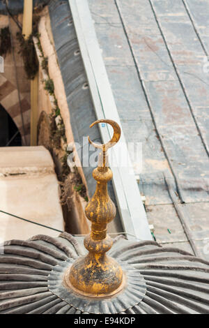 Hebron,. Details from the top of the  Cave of Machpelah, said to be the burial place of  the patriarchs of the Jews. - Stock Photo
