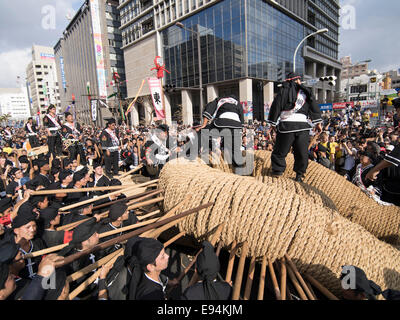 Naha City, Japan. 19th Oct, 2014. Connecting the two halves of the rope at the world's biggest tug of war. Naha - Stock Photo