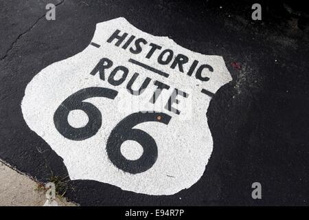 Historic Route 66 insignia painted on tarmac. Pontiac, Illinois. - Stock Photo