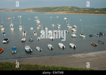 boats at New Quay harbour in Ceredigion, Dyfed, West Wales, Wales, - Stock Photo