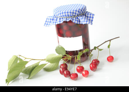 boiled sour cherries - Stock Photo
