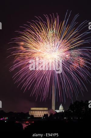 Fireworks over Washington DC on July 4th - Stock Photo