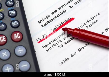 Debit interest on a bank statement