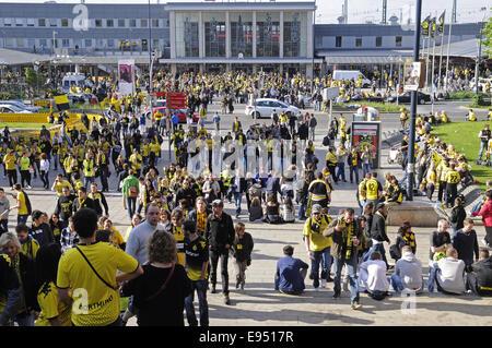 football club BVB, fans, Dortmund, Germany - Stock Photo