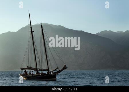 Sailboat, Lake Garda, Cassone, Malcesine, Italy - Stock Photo