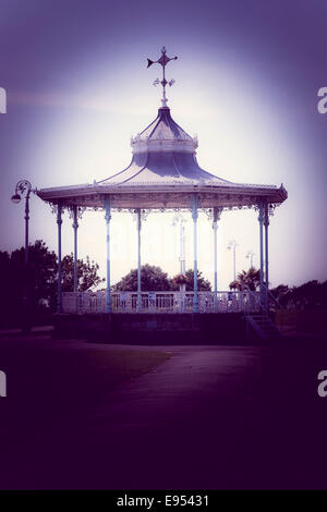 Empty bandstand on The Leas at Folkestone. - Stock Photo