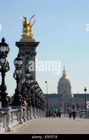 Pont Alexandre III and Les Invalides, Paris, Ile-de-France, France - Stock Photo