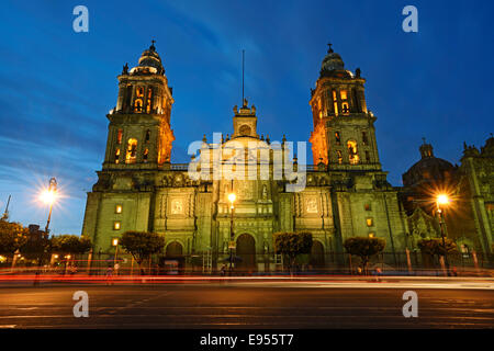 Mexico City Metropolitan Cathedral, Catedral Metropolitana de la Asuncion de Maria, Plaza de la Constitucion, and - Stock Photo