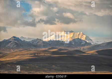 Cordillera Real at sunset, Bolivian plateau Altiplano, La Paz, Bolivia - Stock Photo