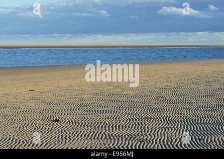 Ripple patterns in front of a tidal creek on the western beach of Spiekeroog, East Frisia, Lower Saxony, Germany - Stock Photo