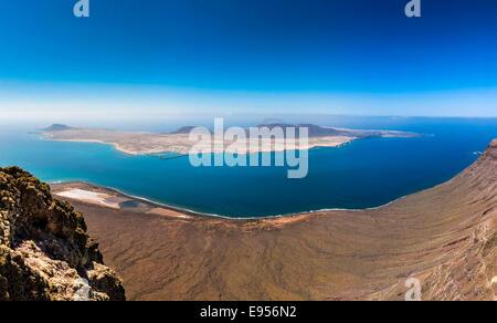 Views of La Graciosa island from the Mirador del Rio, Lanzarote, Canary Islands, Spain - Stock Photo