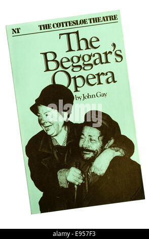 Programme for the 1982 National Theatre production of The Beggar's Opera by John Gay, at the Cottesloe Theatre. - Stock Photo