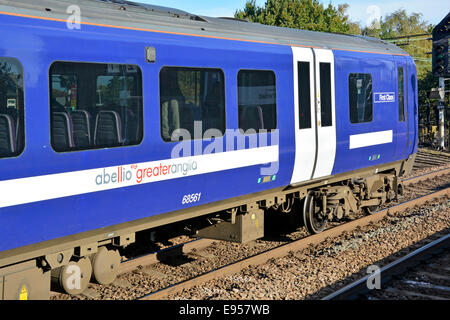 Abellio Greater Anglia brand name on railway carriage forming the front of a train departing Shenfield station - Stock Photo