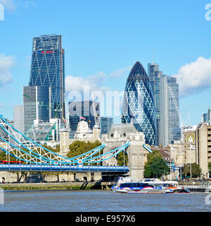 City of London skyline including Gherkin Cheesegrater and Heron Tower skyscrapers - Stock Photo