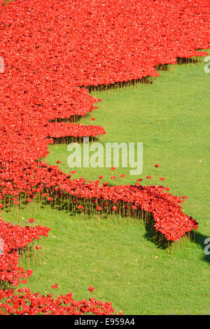 Field of Ceramic Poppies ('Blood swept lands & seas of red') World War 1 tribute in the dry moat at the Tower of - Stock Photo