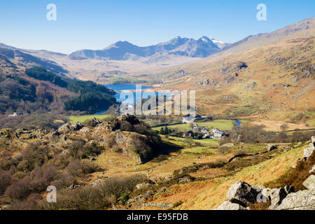 View above Capel Curig to Nantygwryd and the Snowdon Horseshoe in Snowdonia National Park. Conwy, North Wales, UK, - Stock Photo