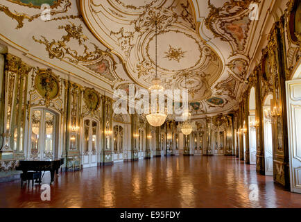 Queluz palace, Queluz, Lisbon; The sala de musica or ballroom. - Stock Photo