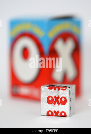 Oxo cube box, beef oxo, reduced salt. - Stock Photo