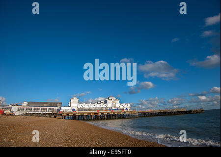 Repair work goes on on South Parade Pier, Southsea seafront - Stock Photo