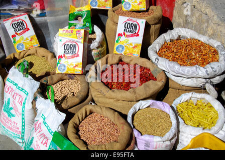 sacks with rice and grains at market at kaza in india - Stock Photo