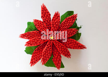 Red flower origami white isolated paper made flowers stock photo origami poinsettia christmas flower isolated on white background stock photo mightylinksfo