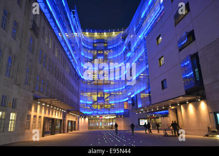 London, UK - September 13: night view of BBC Broadcasting House in London, UK on September 13, 2014. The building - Stock Photo