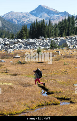 Woman crossing a small stream on a backpack trip in Oregon's Wallowa Mountains. - Stock Photo
