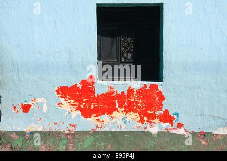 Colorful building and windows, Santiago Atitlan, Guatemala - Stock Photo