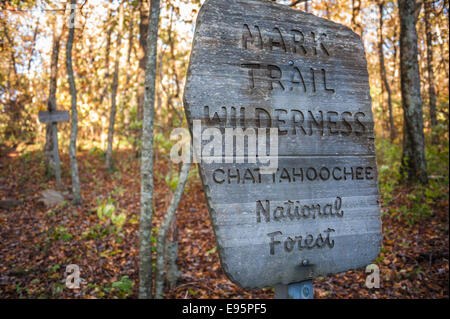 Autumn view of Mark Trail Wilderness sign on the Appalachian Trail in the Chattahoochee National Forest in North - Stock Photo