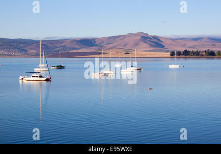 Yachts moored on the Midmar dam in the natal midlands, Howick, KwaZulu-Natal South Africa - Stock Photo