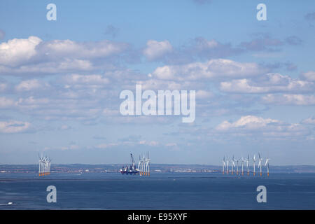 Teeside Offshore Wind Farm near Saltburn-by-the-Sea, United Kingdom. - Stock Photo