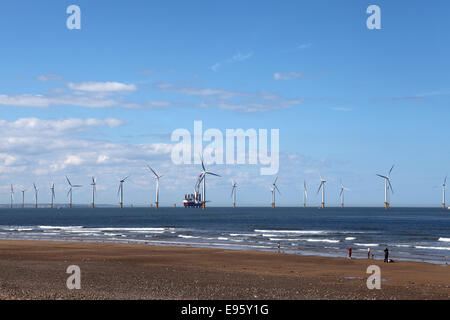 Teeside Offshore Wind Farm seen from Redcar, United Kingdom. The turbines stand in the North Sea. - Stock Photo