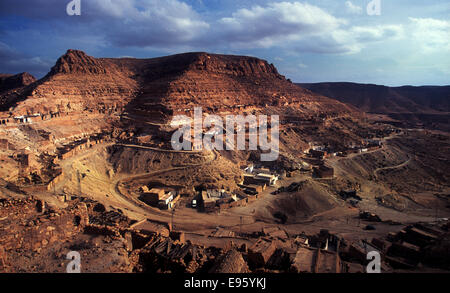 View of a fortified berber village of Chenini,Tunisia - Stock Photo