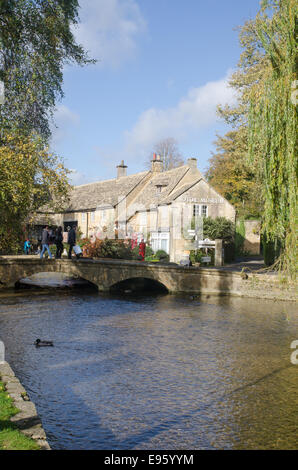 Bourton-on-the-Water, a Cotswold village in Gloucestershire, England - Stock Photo