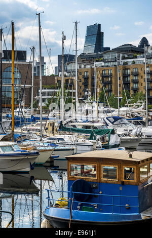 St Katharine Docks in the Borough of Tower Hamlets were docks serving London on the north side of the River Thames - Stock Photo