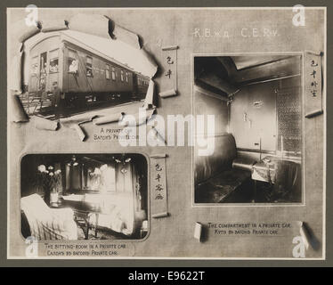 [Chinese Eastern Railway: Exterior and Interior Views of a Private Passenger Car] - Stock Photo