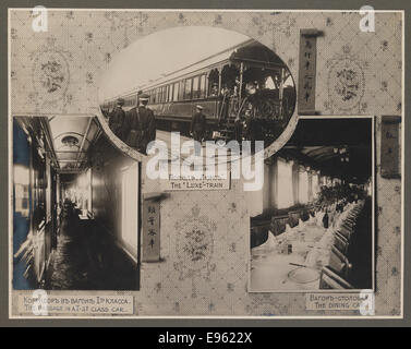 [Chinese Eastern Railway: Exterior and Interior Views of First Class Passenger Cars] - Stock Photo