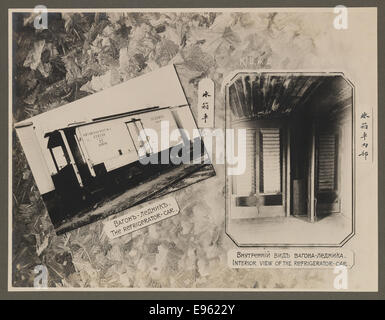 [Chinese Eastern Railway: Exterior and Interior Views of Refrigerator Car] - Stock Photo